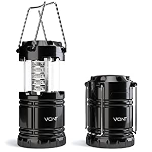 LED Camping Lantern, Survival Kit for Hurricane, Emergency, Storm, Outages, Outdoor Portable Lantern, Black, Collapsible - Vont