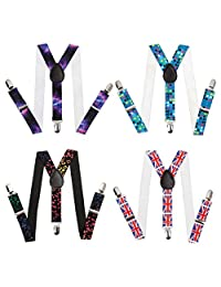 Bundle Monster Clip-On Suspenders for Kids & Toddlers - 1-Inch Premium Stretchy Polyester Skinny Y-Back Adjustable Straps with Metal Clips for Boys & Girls (Various Colors) - Set of 4