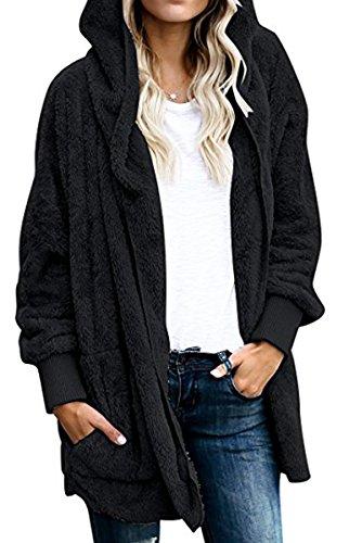 BLACKMYTH Negro Abierto Large bolsillos Cárdigan Capa con Larga Manga Mujer con Casual capucha Frente FBFxwq4Tg
