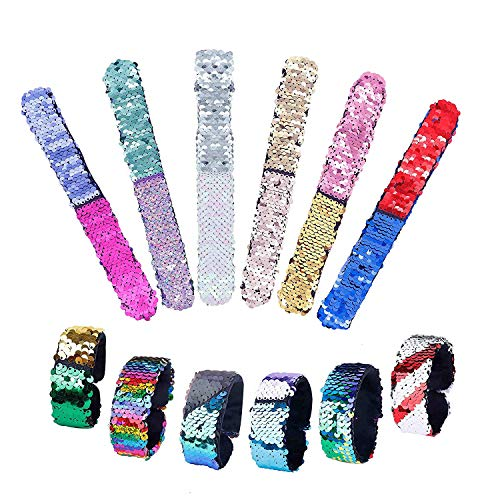 SUPRBIRD 24 Pcs Mermaid Sequin Bracelet, 2-Color Sequin Reversible Glitter Slap Bracelets Charms Wristband for Kids Girls Party Favors Easter Gifts ()
