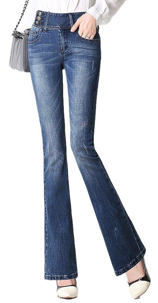 GALMINT Womens Juniors Ripped Slim Bell Bottom High Waist Fitted Flared Denim Jeans