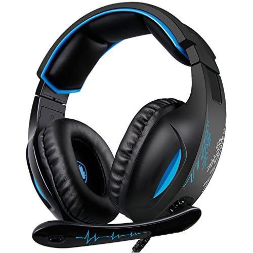 chollos oferta descuentos barato SADES SA816 Gaming Headset para Xbox one PC Phone PS4 con micrófono con cancelación de ruido auriculares con control de volumenstable con control de volumen negro y azul
