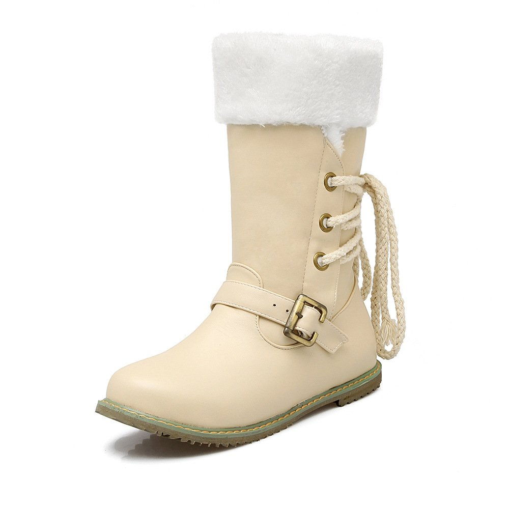 Beige DYF Chaussures Bottes Solides de Grande Taille de la Boucle de Sangle de Couleur Chaude à Fond Plat 52 EU