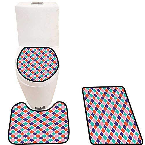 Toilet Carpet Floor mat Colorful Mosaic Tiles Oriental Asian Ikat Indonesian Patterns Motifs Decorative Non-Slip Soft Absorbent Bath Rug