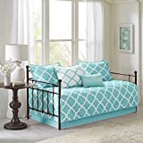 N2 6 Piece Aqua White Medallion Daybed Set, Geometric Trellis Ikat Jacquard Lattice Diamond Shape Pattern Day Bed Lounge Bedding Ottoman Resting Place Bedroom Bedskirt Pillows, Polyester