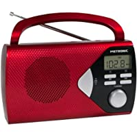 Metronic 477201 Radio Portable (AM/FM) avec Fonction Réveil - Rouge
