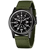 Mens Military Watch Army Field Sport Watches Quartz Analog Wrist Watches for Men with Green Nylon Band Calendar Date