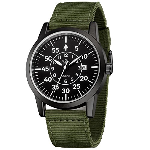 Mens Military Watch Army Field Sport Watches Quartz Analog Wrist Watches for Men with Green Nylon Band Calendar Date by KWLET