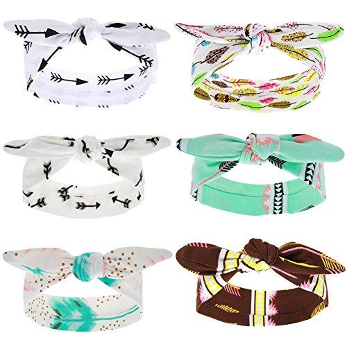 Enjoymart Cute Baby Girls Bow Headband Turban Knot DIY Hair Band Accessories (White 6 (Cute Diy Halloween Headbands)