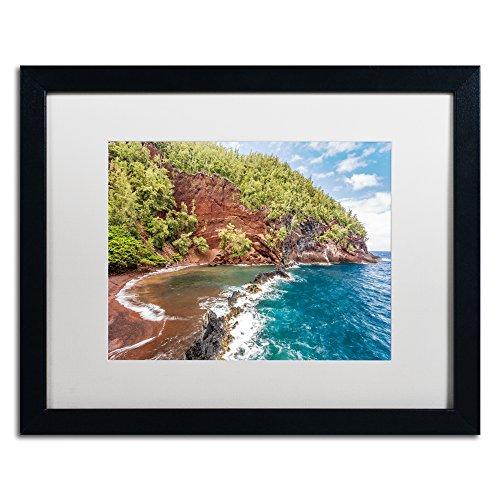 Red Sand Beach Maui by Pierre Leclerc, White Matte, Black Frame - Green Beach Maui
