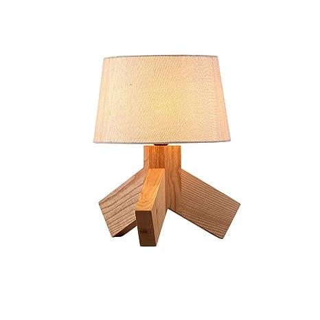 Lámpara de mesa (madera, Luz cálida romántico Simple y ...