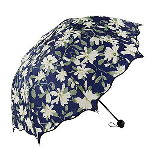 HongXander Flouncing Folding Lotus Leaves Princess Dome Parasol Sun/Rain Umbrella (Insideout Patio Furniture)