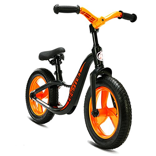 HAPTOO Toddler Bike No Pedal Balance Bike for 2 3 4 5 Year Old Boys Girls 12 inch Rubber Air Tires Adjustable Rubber Air Tires Without Training Wheels Bicycle Toddler Starter Bicycle for Kids