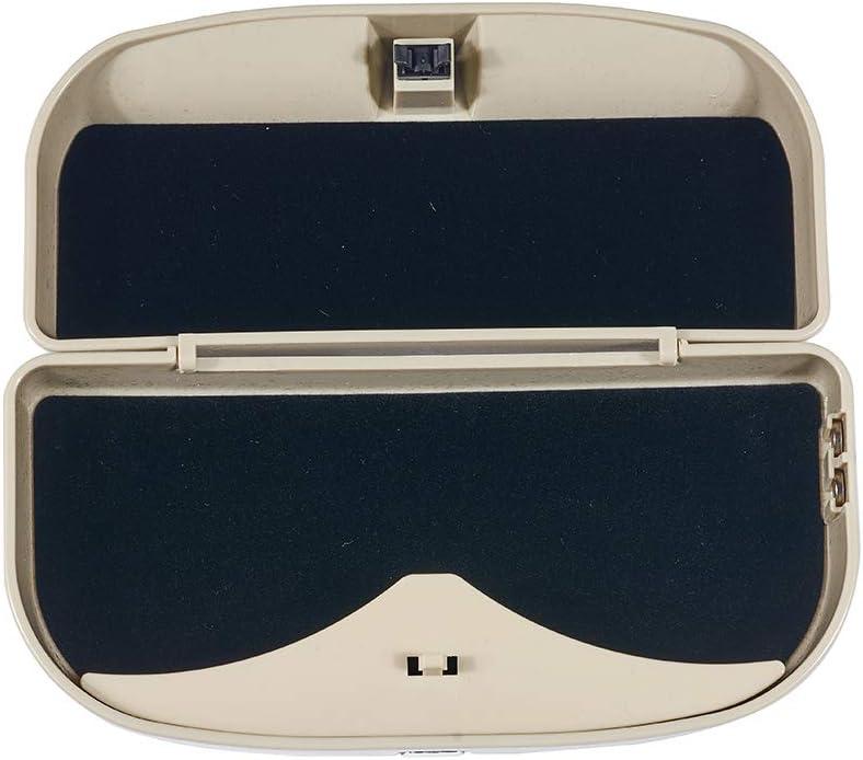 ATMOMO Beige Car Sun Visor Glasses Case Sunglasses Holder Clip Box Car Sunglasses Organizer Mount with Ticket Card Clip