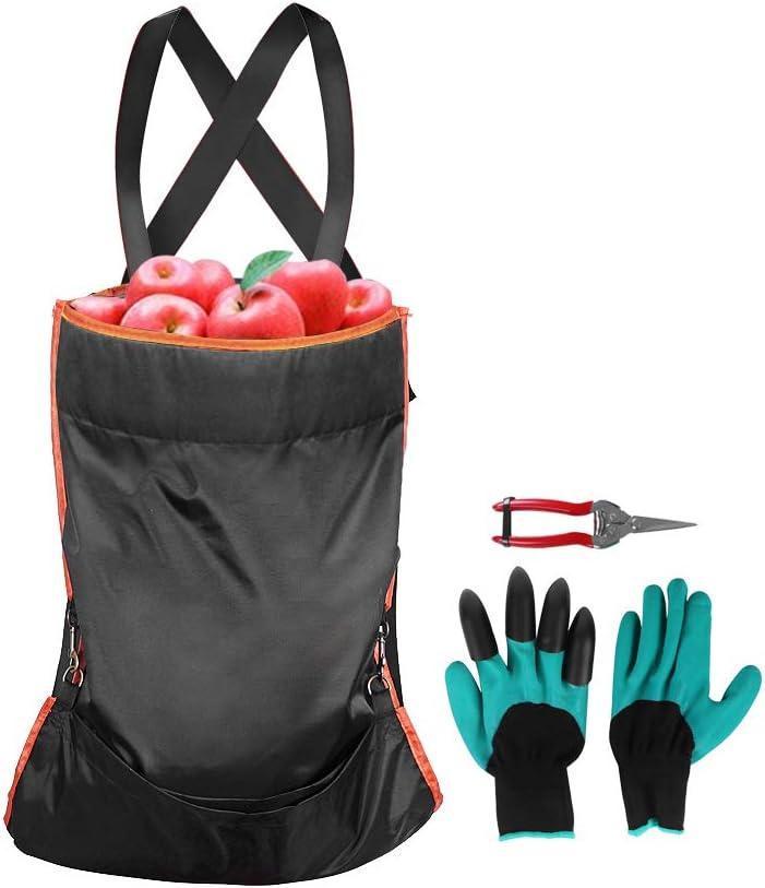 WISEPRO Fruit Picking Bag Sets Include Harvest Garden Apron,Garden Gloves ,Straight Pruning Shears for Garden Gardener