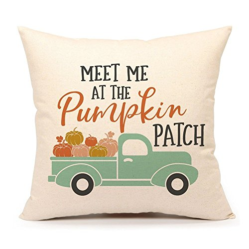 "4TH Emotion Fall Pumpkin Truck Throw Pillow Cover Autumn Quotes Cushion Case for Sofa Couch 18"" x 18"" Inch Cotton Linen (Patch)"