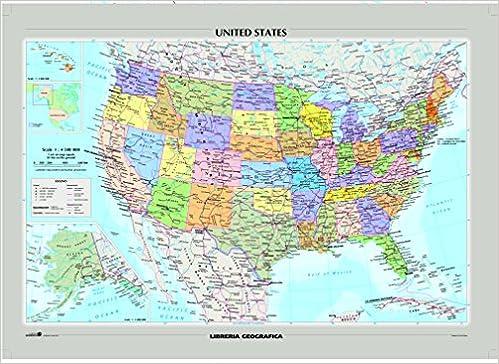 Cartina Morfologica Stati Uniti.Amazon It Stati Uniti D America Mappa Fisico E Politica Carta Murale Libri