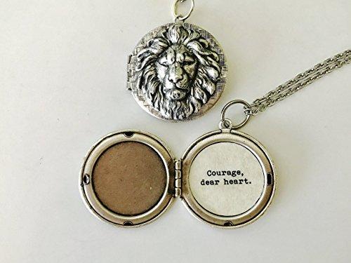 Courage  Dear Heart  Aslan Necklace  Aslan Locket  C S  Lewis Quote Locket