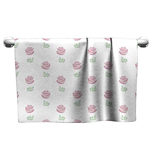 - Tankcsard Custom Towel Seamless Wallpaper Pink Roses with Leaves on White Background,Hooded Poncho Towel for Kids