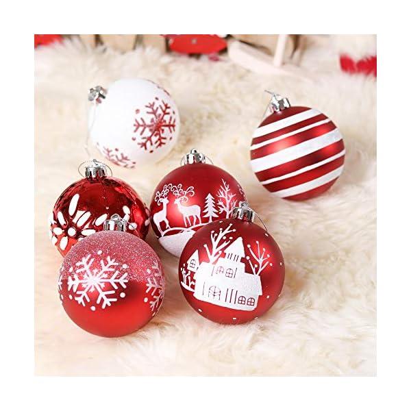 Valery Madelyn Palle di Natale 16 Pezzi 8cm Palline di Natale, Tradizionali Ornamenti di Palle di Natale Infrangibili Rossi e Bianchi per la Decorazione Dell'Albero di Natale 7 spesavip