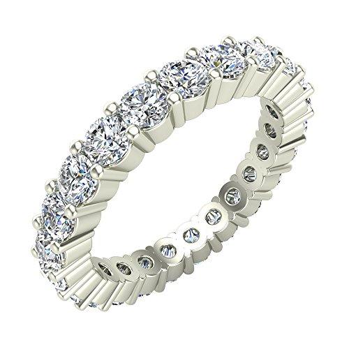 Round Brilliant Eternity Diamond Wedding Band 1.73 Carat Total Weight 14K White Gold (Ring Size 5) -