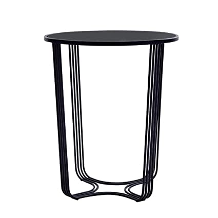 Merveilleux Pure Black Wrought Iron Side Table, Round Tempered Glass Table Top, Solid  Wire Diameter