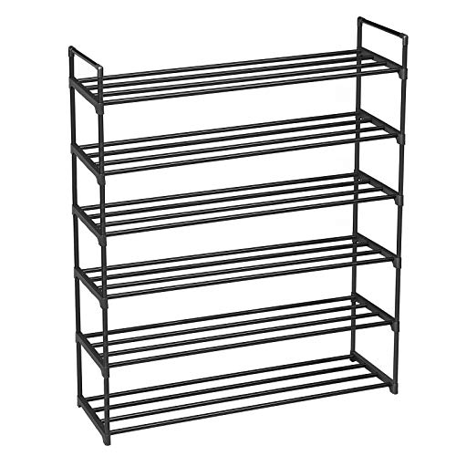 SONGMICS 6-Tier Shoe Rack, Metal Shoe Shelf, Storage Organizer Hold up to 30 Pairs Shoes, for Living Room, Entryway, Hallway and Cloakroom, 36.2 x 11.8 x 44.5 Inches, Black ULSA16BK