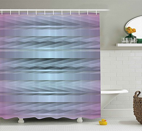 [Modern Decor Shower Curtain Gradient Toned Zig Zag Retro 80s Party Style Fragmented Stripes Graphic Art Fabric Bathroom Decor Set with Hooks Lilac] (Vintage Halloween Costumes From The 80s)