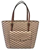 MICHAEL Michael Kors Jet Set Item Large Top Zip Pocket Tote (Large, Signature/Luggage)