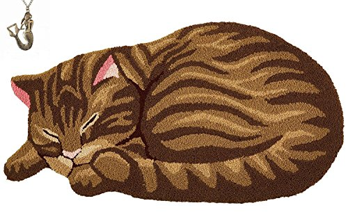 Hughapy Brown Cute Sleeping Cat Shaped Bedroom Area Rug,Tabby Cat carpet,33.5 by 18 Inch