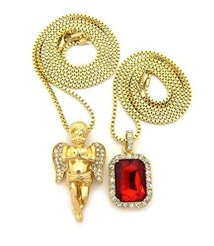 Micro Colorful Gemstone, Angel Pendant 24