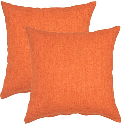 YOUR SMILE Pure Square Decorative Throw Pillows Case Cushion Covers Shell Cotton Linen Blend 18 X 18 Inches , Pack of 2 (Orange)