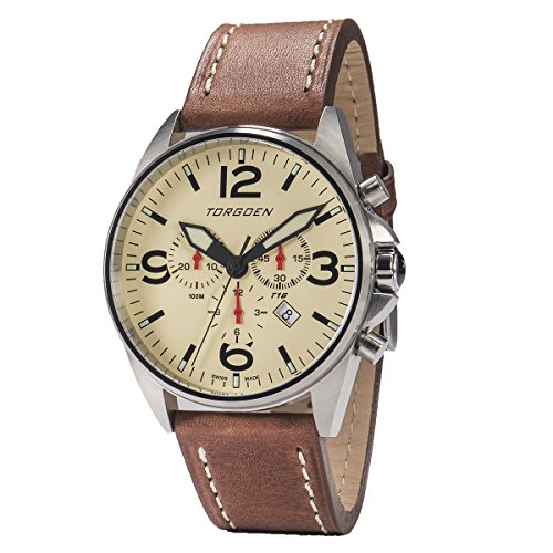 Torgoen T16 Cream Chronograph 44mm | Leather Strap