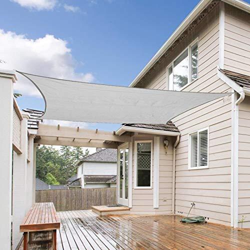 Shade&Beyond 7'x13' Sun Shade Sail Rectangle Canopy Sail Sunshade UV Block for Patio Yard Backyard Light Grey