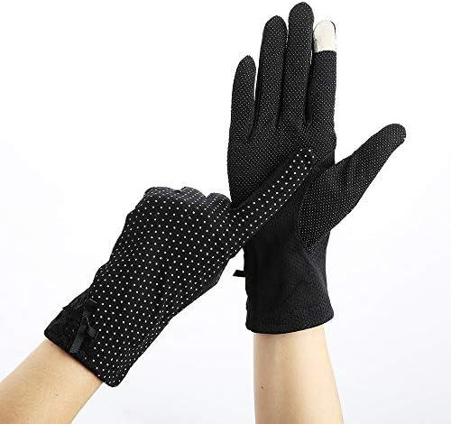 BAJIMI UVカット手袋 手触りが良い ファッション女性の手袋コットンダブルメッシュガーゼスリップ通気性乗馬アウトドアスポーツUVプロテクション日焼け止め手袋 夏 ハンド ケア レディース/メンズ (Color : Black, Size : L)