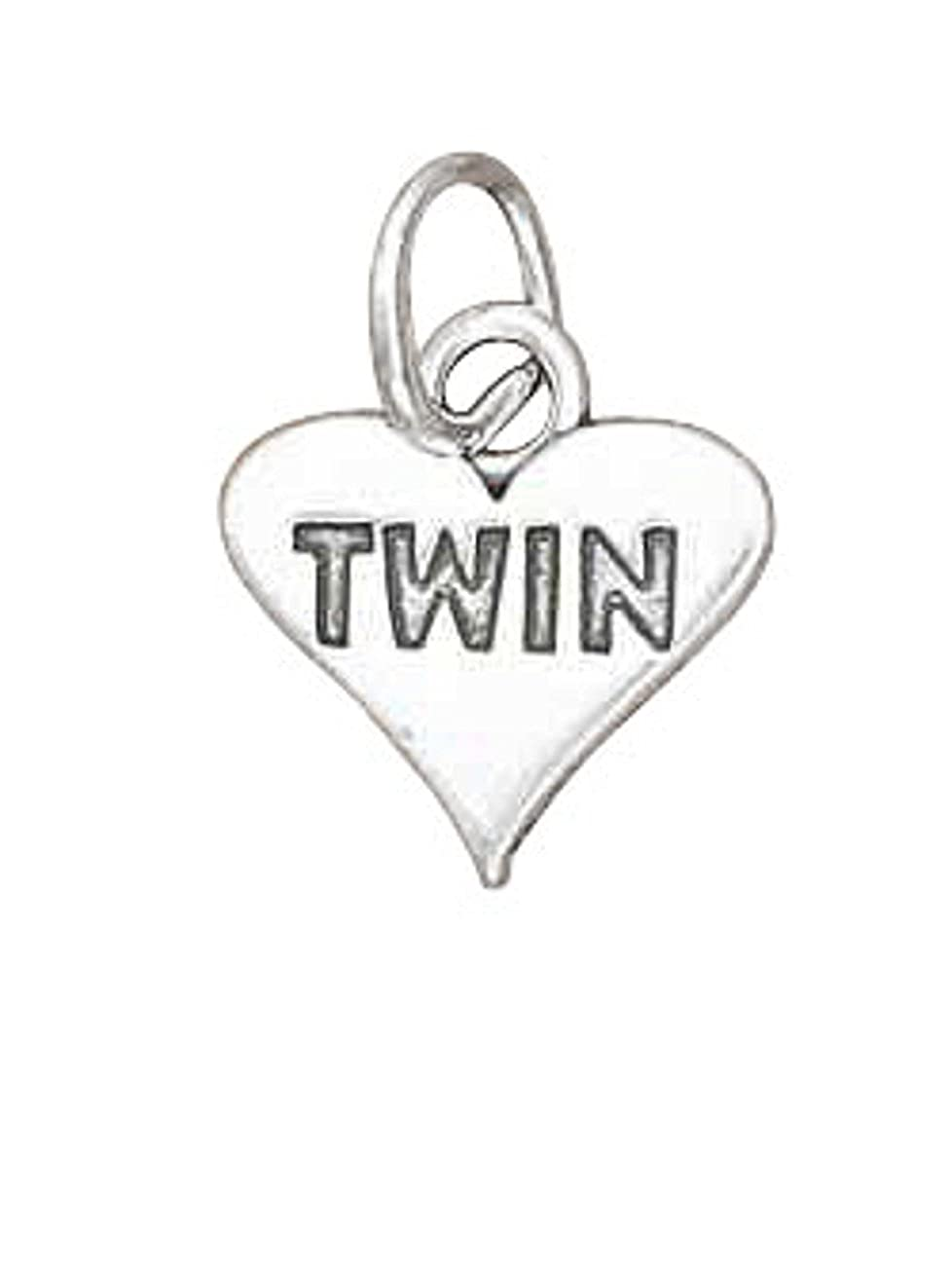 Sterling Silver Girls .8mm Box Chain Love MyTWIN Heart Pendant Necklace