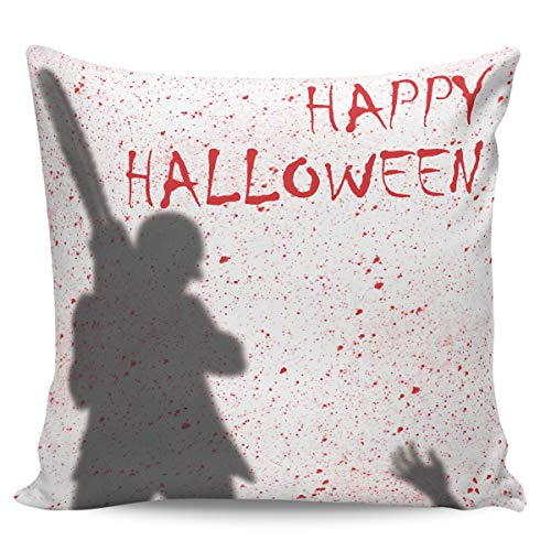 Liberkin Throw Pillow Cases Decorative Soft Square Polyester Pillowcases Pillow Cover Sham Cushion Case for Sofa, 16 x 16 Happy Halloween Chainsaw Killer (Best 16 Chainsaw 2019)