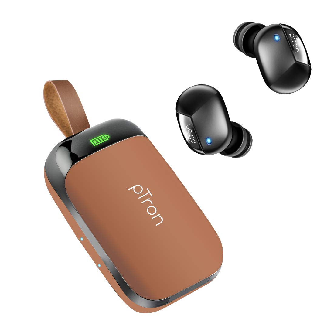 pTron Bassbuds Urban in-Ear True Wireless Stereo Bluetooth Headphones (TWS) with Mic - (Brown)