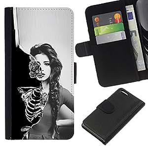NEECELL GIFT forCITY // Billetera de cuero Caso Cubierta de protección Carcasa / Leather Wallet Case for Apple Iphone 5C // Cráneo Esqueleto Sexy Girl