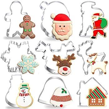 Christmas Cookie Cutters 9 Piece Set - Stainless Steel Cookie Mould, Reindeer, Snowman, Santa Claus Head,House,Bell,Gingerbread Man,Snowflake,Elk,Santa Claus