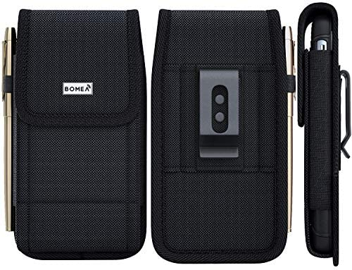 Bomea iPhone XR Belt Case, iPhone 11 Holster, Rugged Nylon Cell Phone Holster Case with Belt Clip Loop Pouch Belt Holder Cover for Apple iPhone 11 / XR (Fits Phone w/Otterbox Commuter Case on) Black