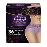Always Discreet Boutique Incontinence Underwear For Women, Purple, Large, 36 Count