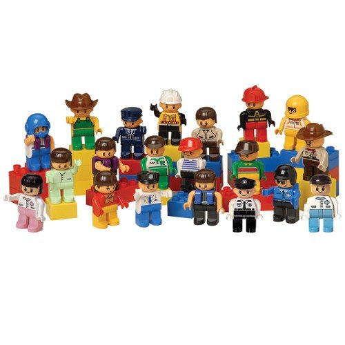 Constructive Playthings OX-20 CP Toys 20 pc. Posable People for Preschool-Sized Building Bricks