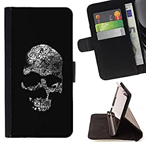 Skull Black Bones White Death Metal - Painting Art Smile Face Style Design PU Leather Flip Stand Case Cover FOR Sony Xperia M2 @ The Smurfs