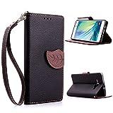 A3 Case,XYX [Kickstand] Galaxy A3 Case [Black, Leaf Buckle],[Card Slot][Flip][Slim Fit][Wallet][Lanyard] Premium Protective Case for Samsung Galaxy A3 [Black]