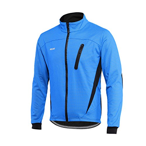 ARSUXEO Winter Warm UP Thermal Fleece Cycling Jacket Windproof Waterproof Breathalbe 16H Blue Size Small