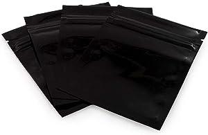 100pcs Mylar Foil Zipper Bag Pouch Self Sealing Double-Sided Color Flat Zipper Bags Food Grade Storage Vacuum Sealer Perfect for Cosmetic Tea Powder 8.5x13cm (Black)