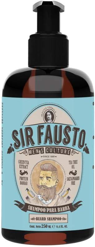 Sir Fausto Champú Barba y Bigote/Beard Shampoo/Acción Antibacteriana & Antiséptica Ingredientes Naturales: Árbol de Te & Te Verde, Proteina Baobab ...