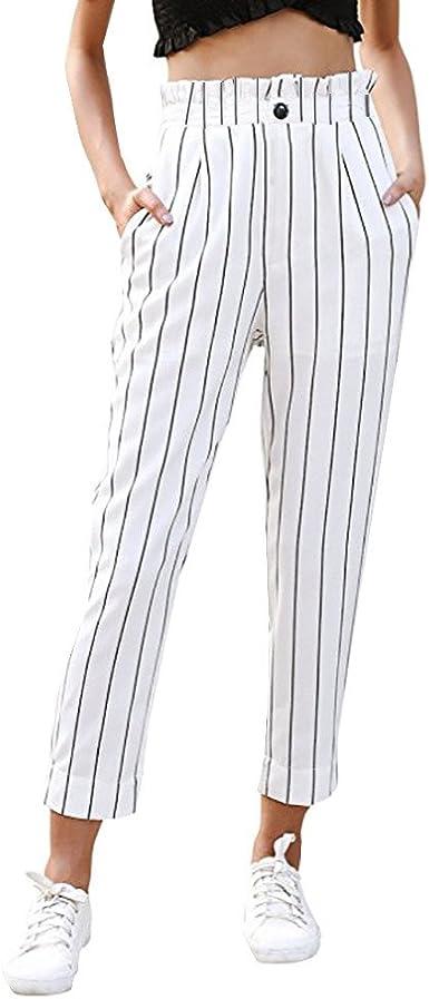 Gusspower Pantalones Para Mujer Raya Casual Elegante De Pinza Negocios Pantalon Estampado Rayas Cintura Alta Mujer Pantalones Amazon Es Ropa Y Accesorios