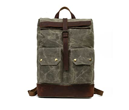 74ca3d9eaf8 Amazon.com  Oil Wax Backpack New European and American Leisure ...